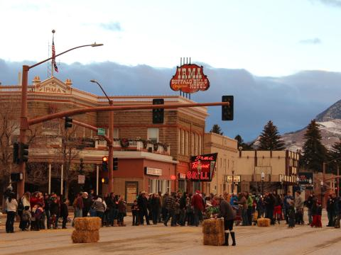 Christmas Day scene in front of Buffalo Bill's Irma Hotel