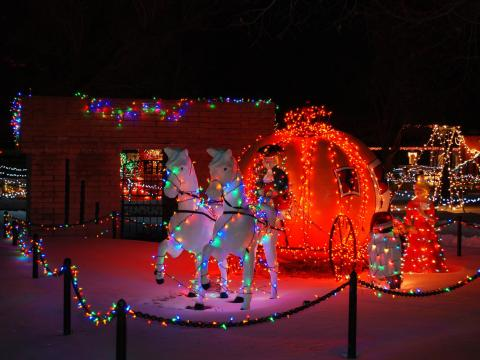 Magical holiday light displays at the Storybook Island children's theme park