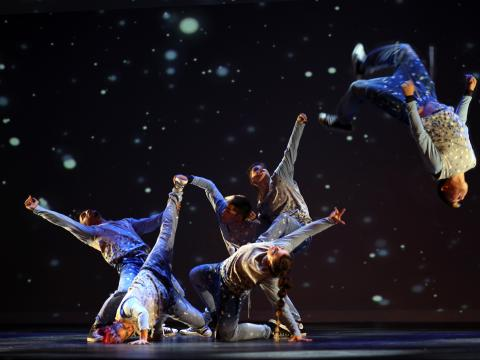 Flipping through the snow in the Hip Hop Nutcracker