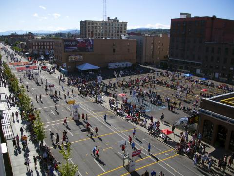 The active courts at Spokane Hoopfest