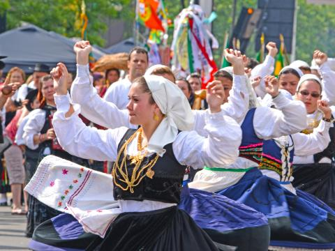 The vibrant parade during Portugal Day