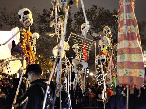 Skeletons dancing at the Village Halloween Parade