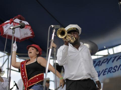 Brass band playing during Satchmo Summerfest
