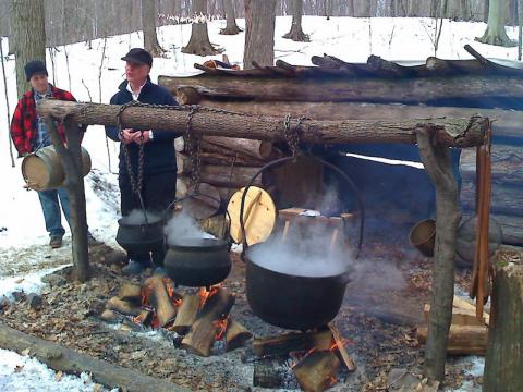 Getting a how-to at the Maple Sugar Festival