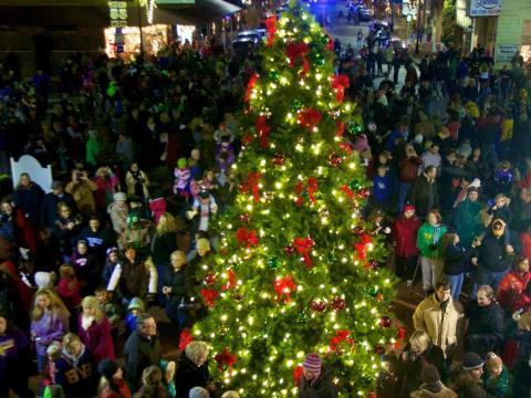 Un resplandeciente árbol durante la temporada de fiestas en Bardstown, Kentucky