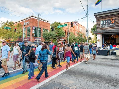 A rainbow-colored sidewalk celebrates LGBTQ pride in Atlanta's Midtown neighborhood